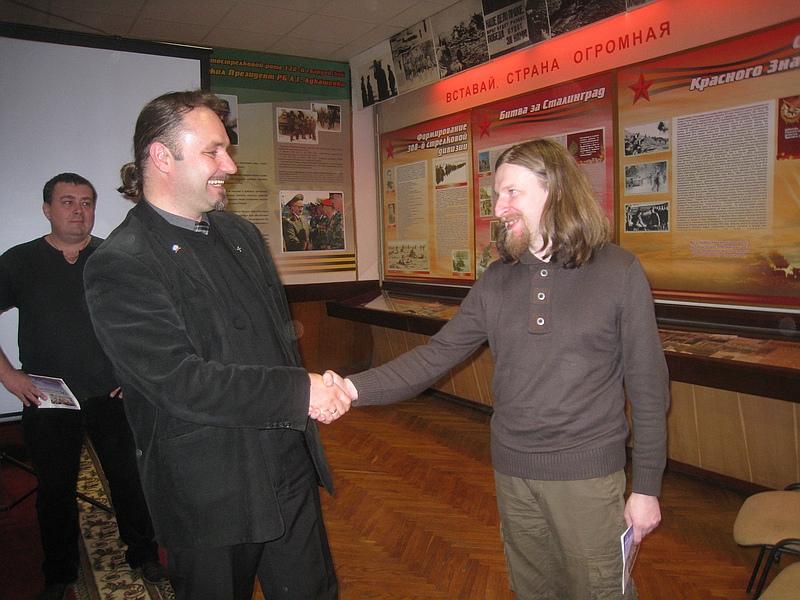 После завершения спора двух философов : Алексей Дзермант и Гроздан Стоевский.